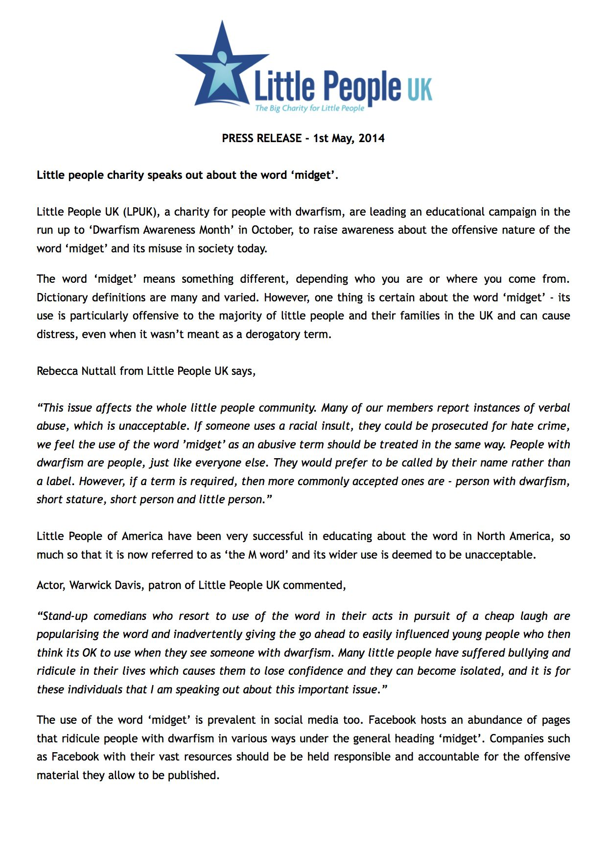 LPUK Midget Statement