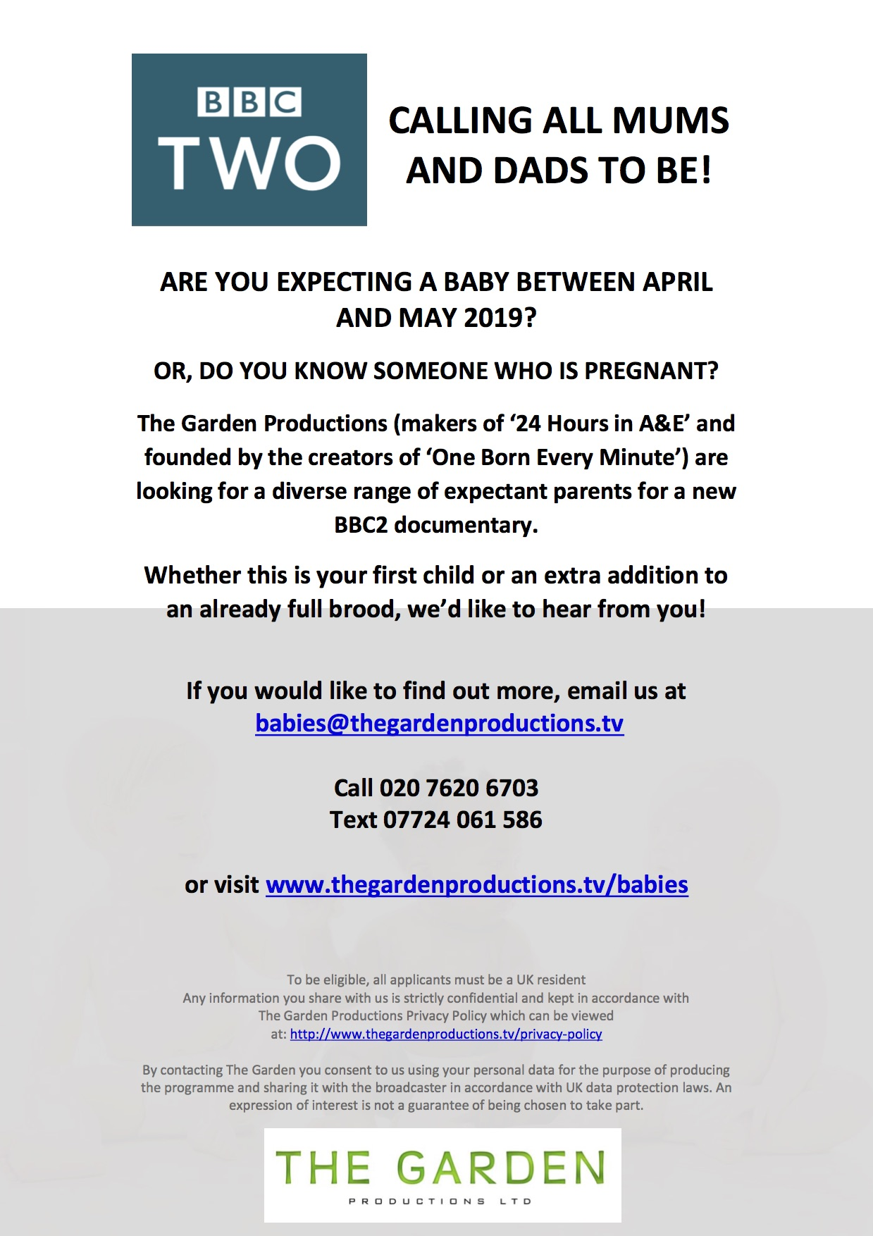 CALLING ALL MUMS AND DADS TO BE