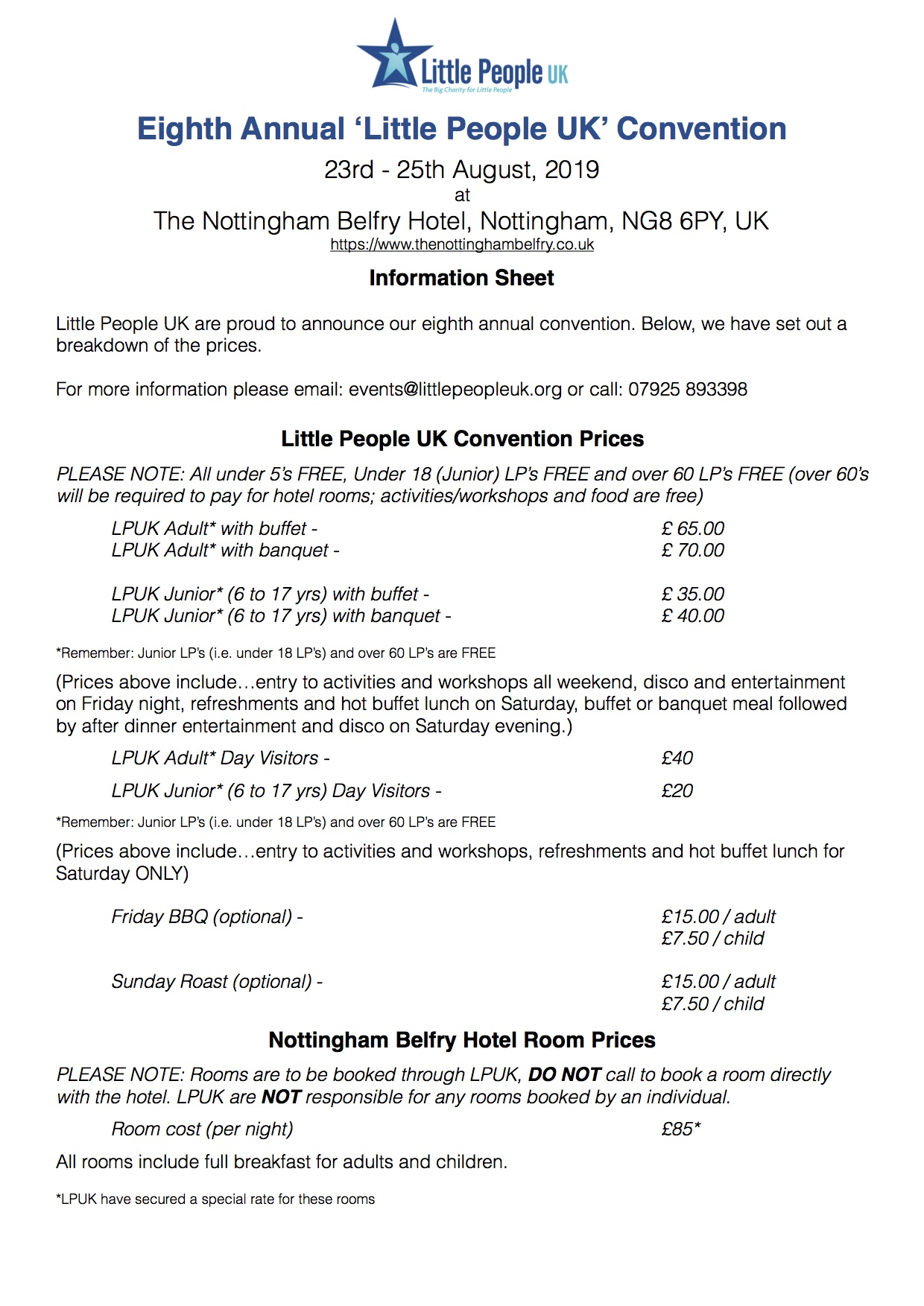 LPUK Convention costings 2019 8th Annual Convention